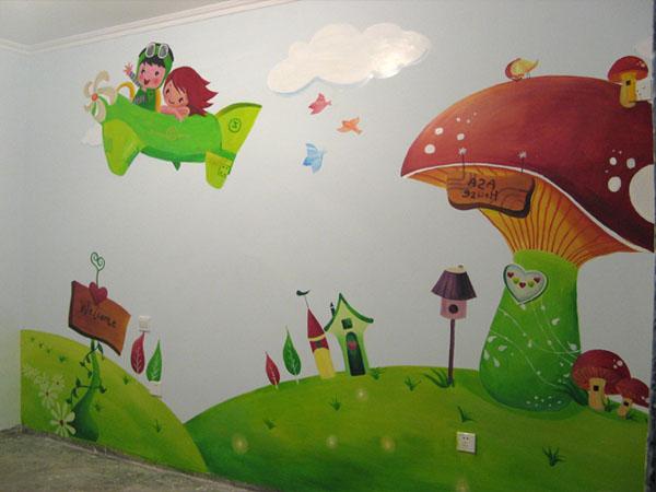 绘制丛林的墙绘,展示一切冒险和野性的风情